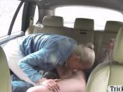 Pretty amateur blonde passenger drilled for a free fare