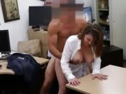 Big Titty Brunette MILF Getting Banged On Pawn Shop Desk