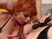 Redhead lesbian hottie gets anal fucked