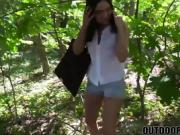 Hot teen pick up cash for sex gets fucked hard outdoors