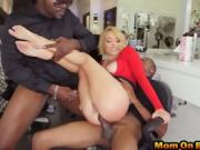 Blonde hair stylist double penetrated black dongs