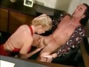 blonde Secretary gives her boss a blowjob