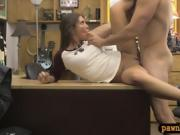 Cute brunette babe sucks and gets nailed by pawn dude