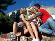 Two perfect blonde babes in perfect outdoor threesome