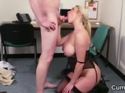 Kinky beauty gets jizz shot on her face eating all the jizm