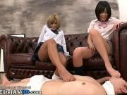 Japanese 18yo schoolgirls rough footjobs