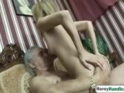 Blonde babe riding handicapped man blowjob