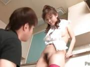 Moe Yoshikawa rides a cock in the kitchen her tits swinging