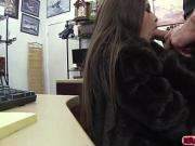 Pretty hot babe models her fur coat and fuck the pawn owner