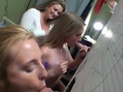 College teens suck dicks through a self made gloryhole