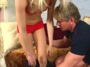 Sexy young blonde rides him hard and gets paid for it