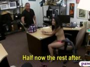 Cuban babe convinced to fuck with pawn guy for money