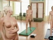 Hot blonde and brunette babes learning yoga exercises