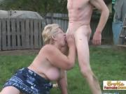 Older Blonde Loves To Suck On Big Hard Cock