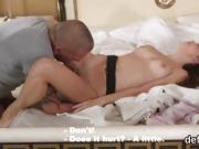 Cuddly cutie opens up narrowed quim and gets deflowered