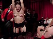 Fan babe turns into orgy bdsm slave at party
