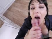 Busty milf Alessandra Snow sucking her stepsons big cock