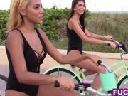 Teen beach bikers with hot asses picked up and fucked