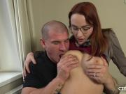 BUSTY REDHEAD GETS HER PUSSY POUNDED