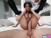 Ebony chick Brittney White spread her pussy wide open