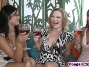 Slutty Milfs Sharing Lucky Guy's Dong In Foursome