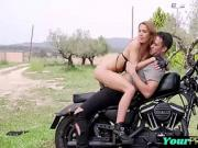 Amazing euro drilled on a motorbike outdoors in closeup scene