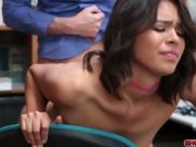 Tiny brunette Kat Arina fucks with horny detective