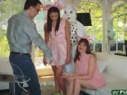 Easter bunny fucks hairy muff teen babe Avi Love on sofa