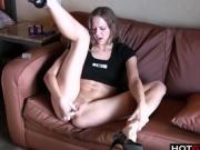 Slim cutie gives her pussy a fingering.