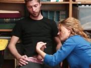 Female mall officer punish fucks a shoplifter dude