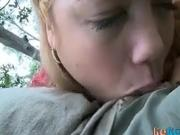 Blonde teen bj in the park