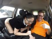 Julia De Lucia with glasses gets her pussy banged in the car