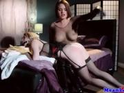 Busty blonde lesbian gagged and spanked before tribbing