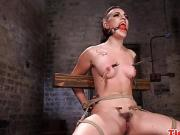 Maledom fingers and uses vibrator on tied up bdsm subs pussy