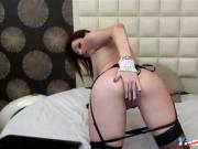sexy brunette camgirl gives hot show in front of her webcam