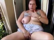 French Mom Angelique fingering in her patio