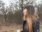 Czech babe flashes her big tits and fucked in the woods