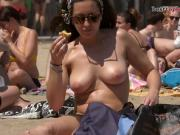 Nice woman Topless at the Beach
