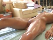 Sensual oil massage with vigorous fucking action
