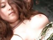 Mirai Haneda in silky lingerie on her knees with a hard dick