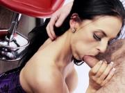 Big-titted brunette makes him crazy with her cock sucking