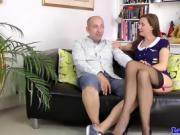 Doggystyled british milf sucking cock for cum