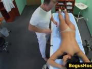 Real euro nurse pussy eaten out during shift