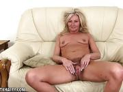 Mature Hairy Blonde goes for a walk and talks dirty.
