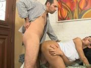 Huge breasts shemale gets her ass rammed