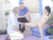 Fella assists with hymen physical and poking of virgin chick