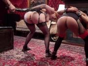 Huge tits redhead and ebony asses whipped