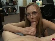 Lucky Pawn owner makes hot babe suck and fuck his big cock