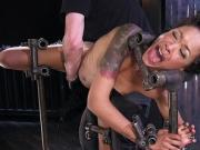 Ebony gets orgasm in device bondage