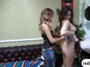 Brunette babe sucks off and fucked in exchange for cash